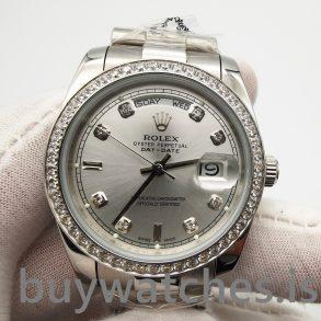 Rolex Day-date 118346 Серебряные автоматические часы с бриллиантами 36 мм