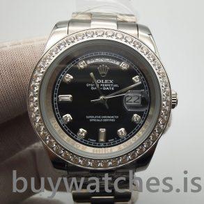 Rolex Day-Date 218349 Мужские 41 мм черные с бриллиантами автоматические часы
