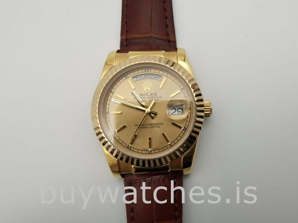 Rolex Day-Date 1503 Золотые часы унисекс 34 мм с автоподзаводом