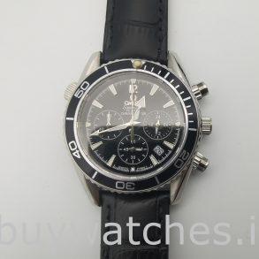 Omega Seamaster Pr603 Платиновые темно-синие черные кожаные часы