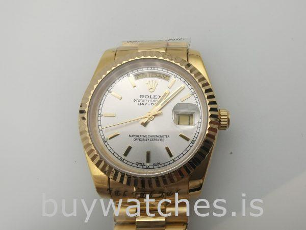 Rolex Day-Date 18238 Мужские 36-миллиметровые автоматические серебряные часы