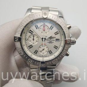 Breitling Super Avenger A13370 Белые 48-миллиметровые стальные автоматические часы