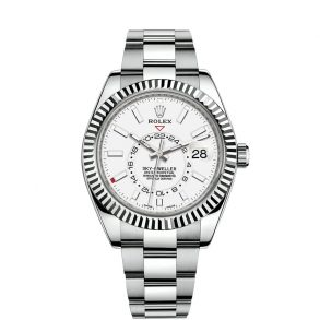 Rolex Sky-Dweller 326934 Мужские стальные часы с белым циферблатом 42 мм