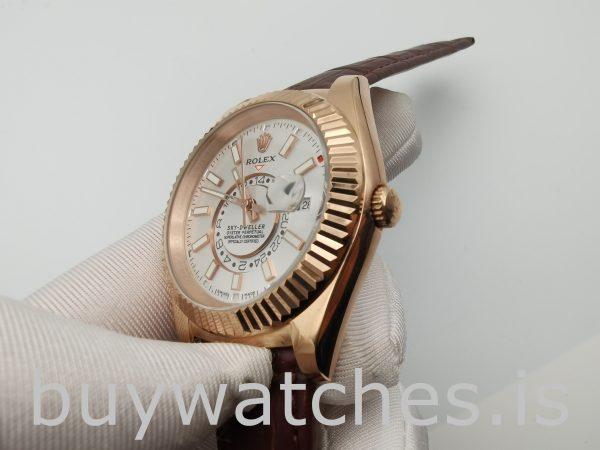 Rolex Sky-Dweller 326135 Белые 42-миллиметровые коричневые однотонные часы