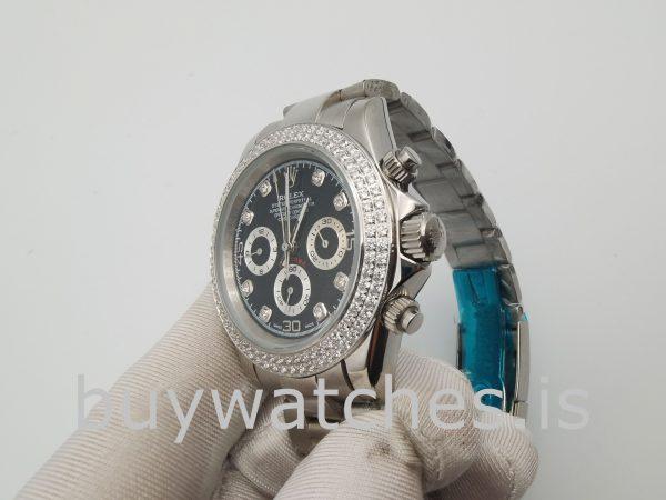 Rolex Daytona Женские часы 40 мм с черным циферблатом и бриллиантами