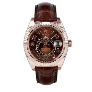 Rolex Sky-Dweller 326135 Часы с кожаным циферблатом и шоколадным циферблатом 42 мм